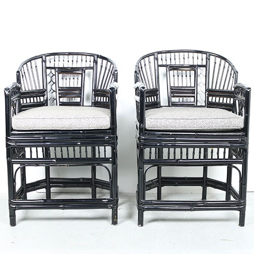 Black Rattan Accent Chairs