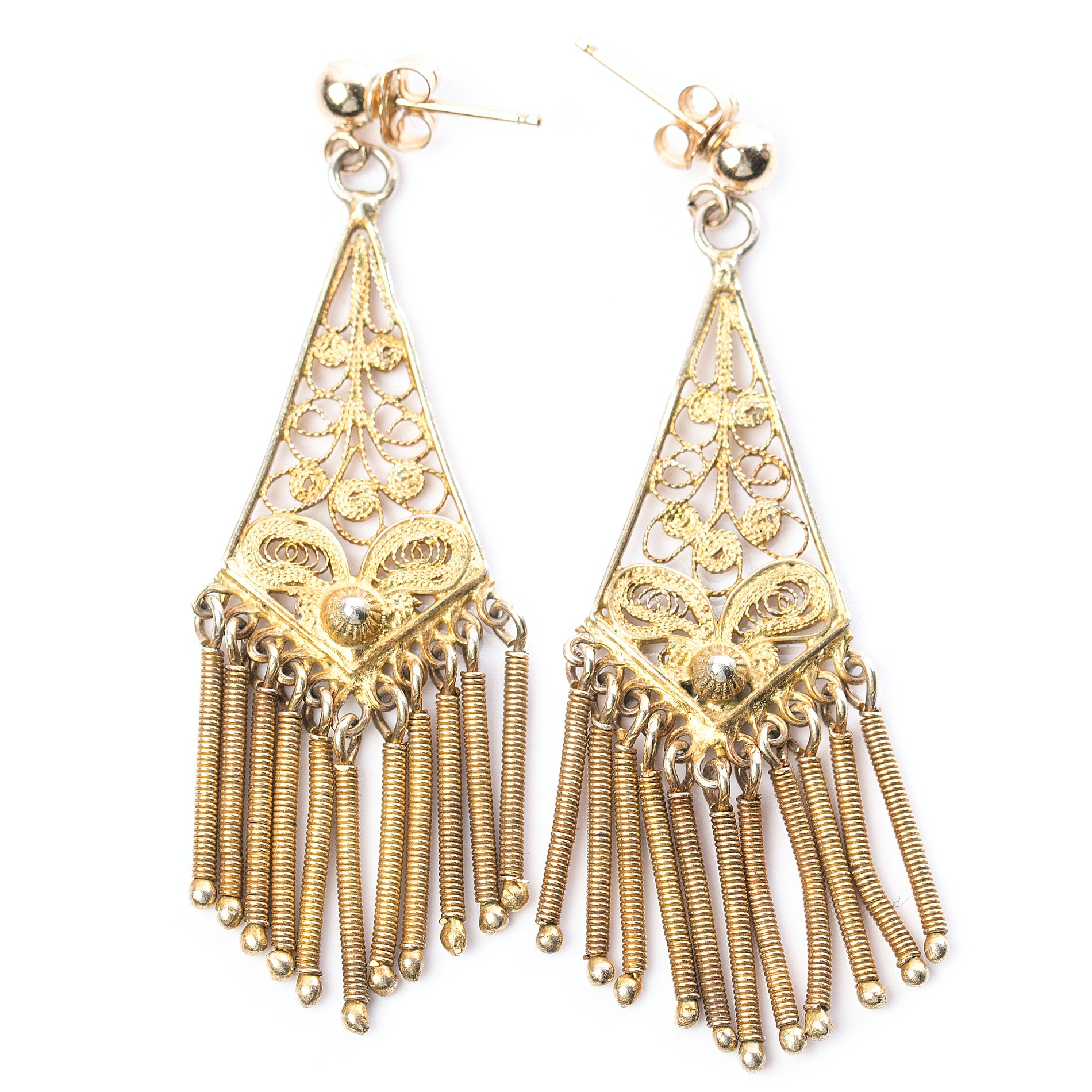 Vintage Gold Plated 800 Silver Middle-Eastern Style Earrings