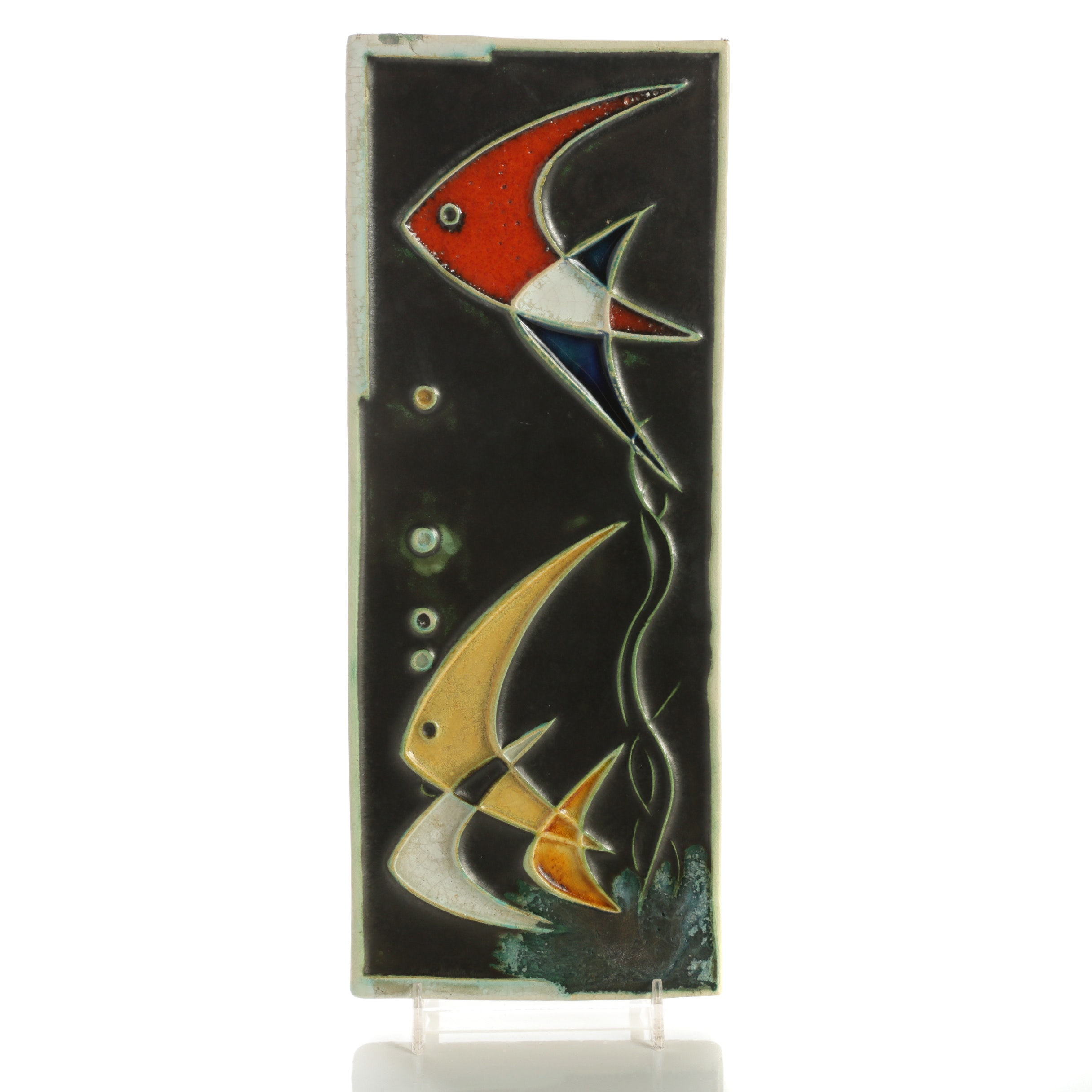 Helmut Schäffenacker Ceramic Wall Plaque of Aquatic Scene