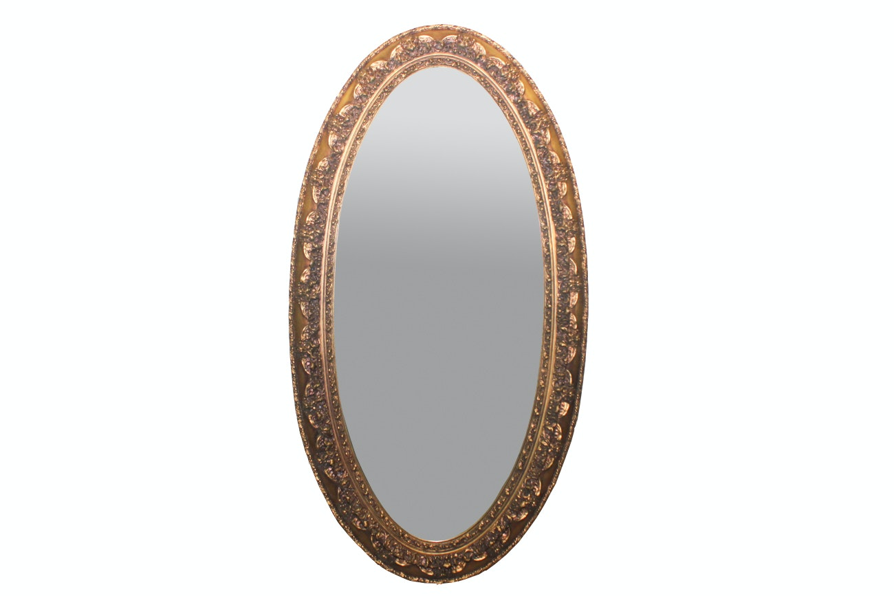 Vintage Gold Toned Oval Wall Mirror By Stroupe