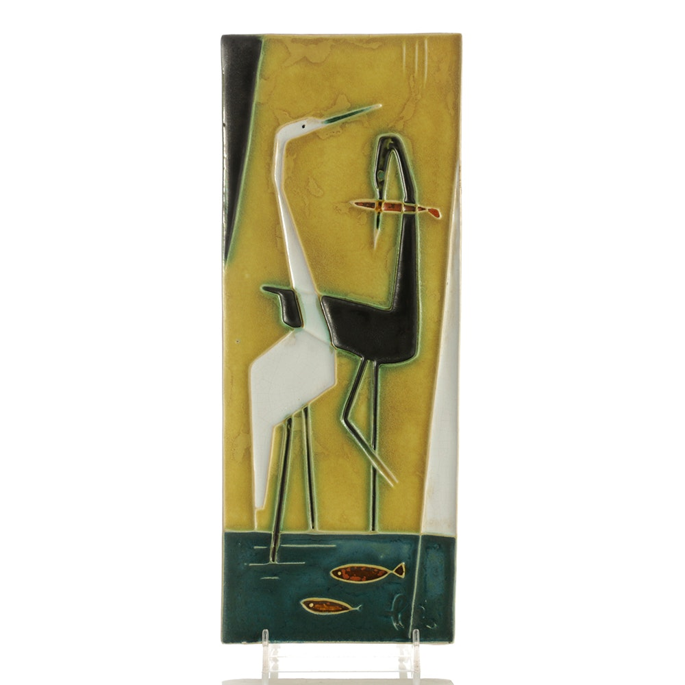 "Helmut Schäffenacker Ceramic Wall Plaque ""Storks"""