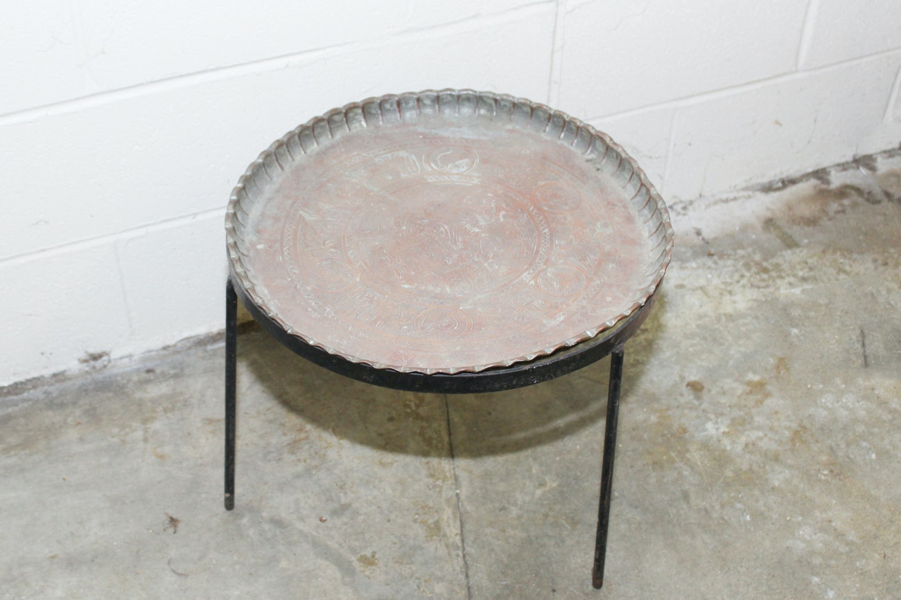 Copper and Iron Accent Table
