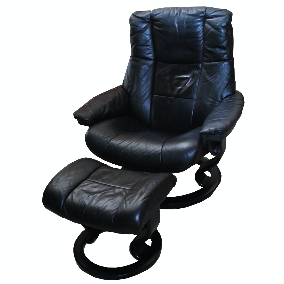Black Leather Stationary Recliner with Ottoman