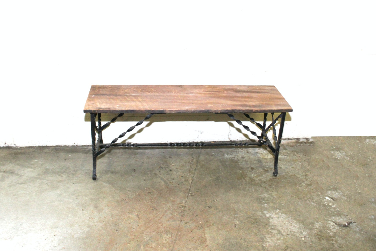 Vintage Wrought Iron and Barn Wood Bench