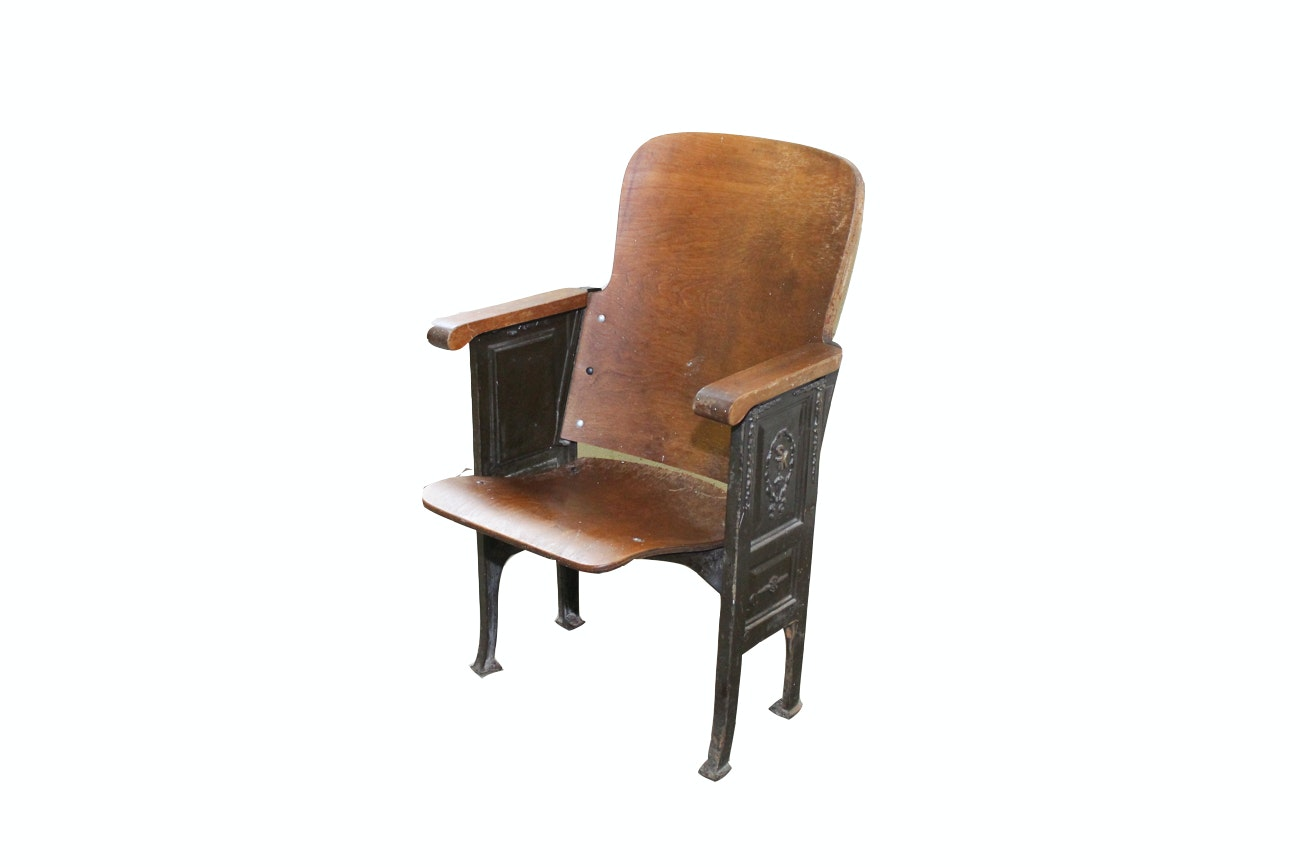 Wood and Cast Iron Theater Seat