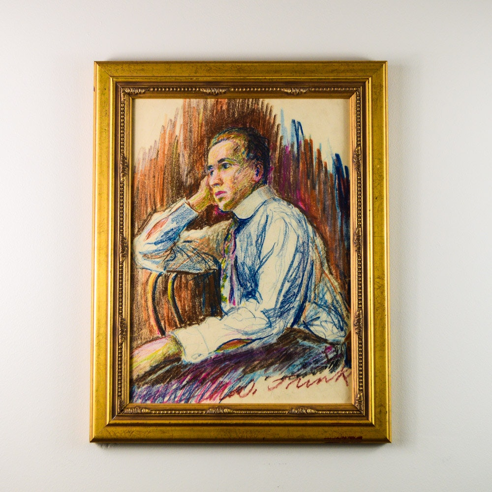 Portrait of Harry Gadbury in Crayon, Framed