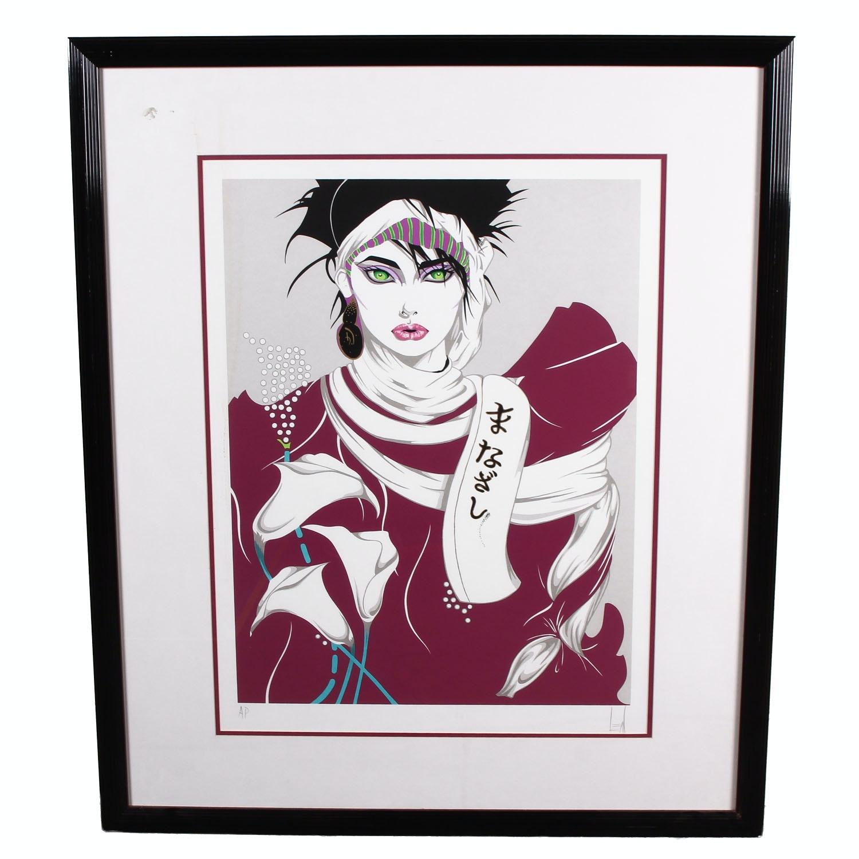 "Framed Steve Leal ""Singapore Lady (Plum)""  Serigraph"