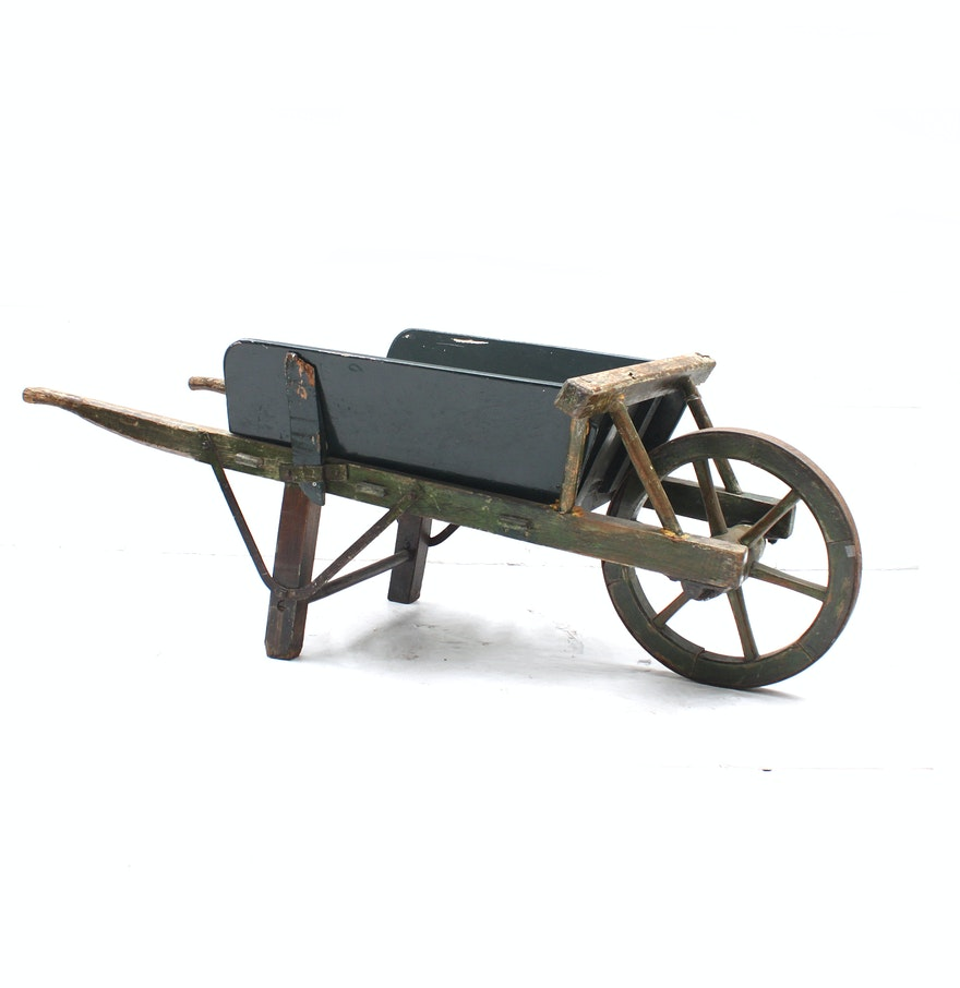 Wooden Wheel Barrels: Vintage Wooden Wheelbarrow : EBTH