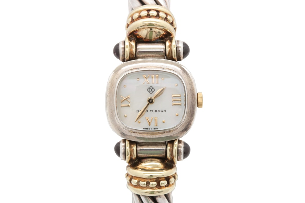 David Yurman Sterling Silver and 18K Yellow Gold Cable Style Wristwatch
