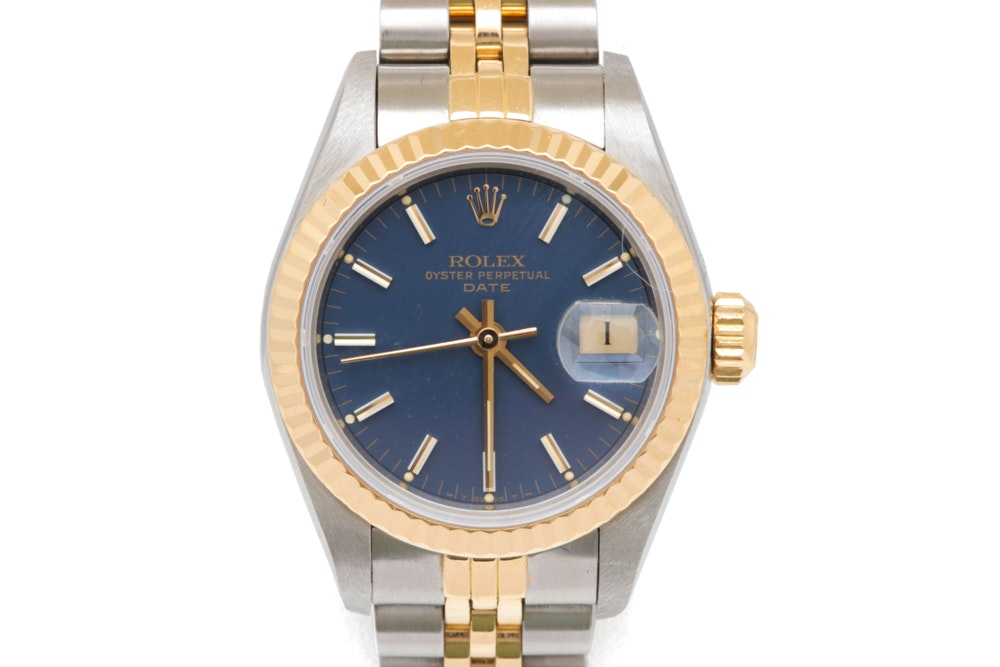 14K Gold and Stainless Rolex Oyster Perpetual Date Wristwatch
