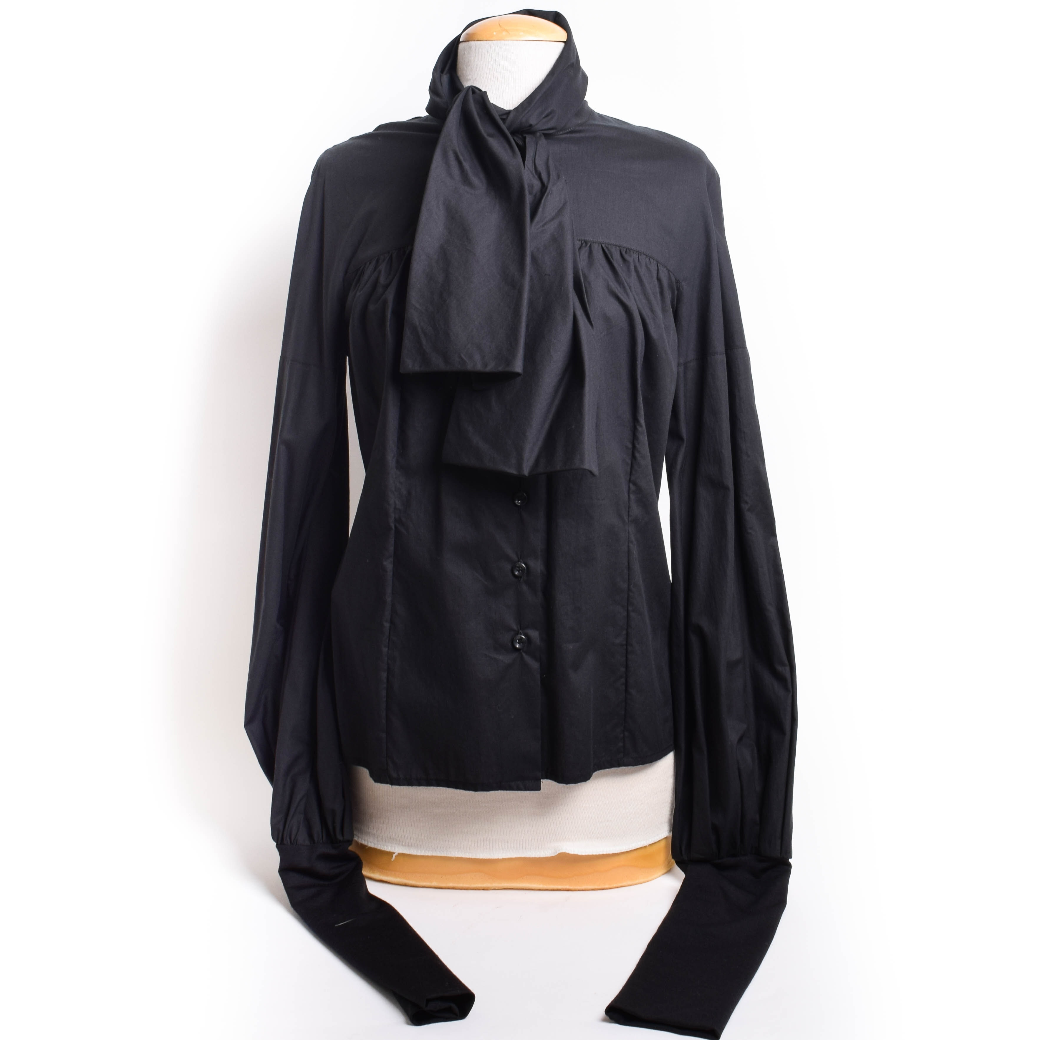 Black Button Down Top by Ainos