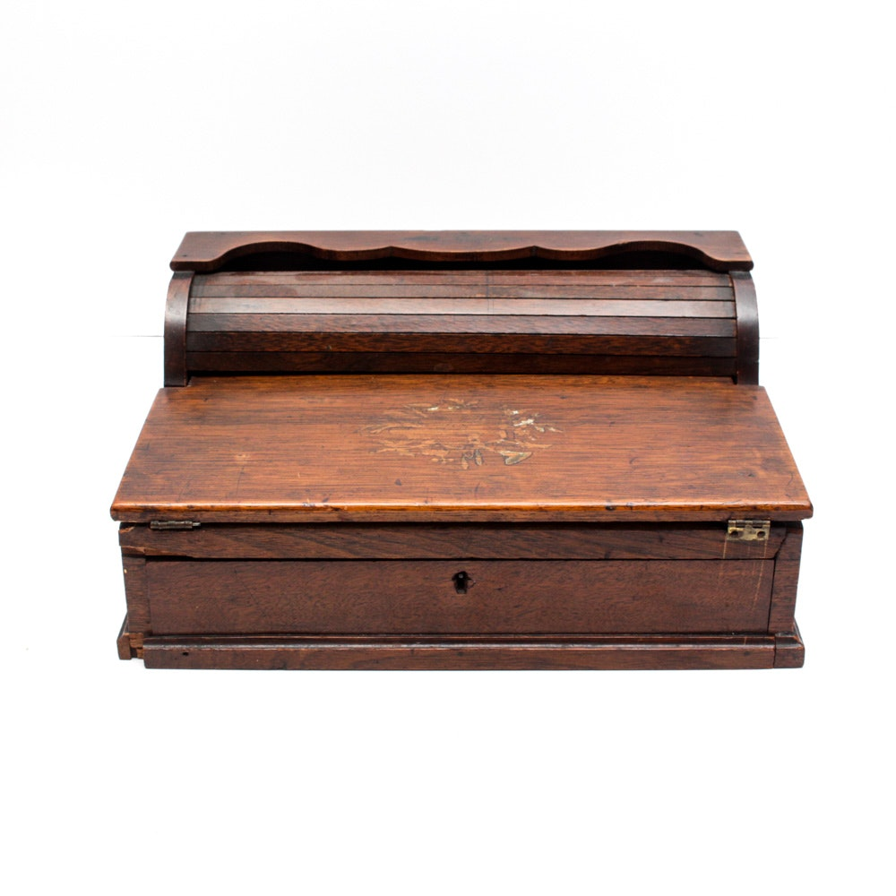 Antique Portable Roll-Top Writing Desk