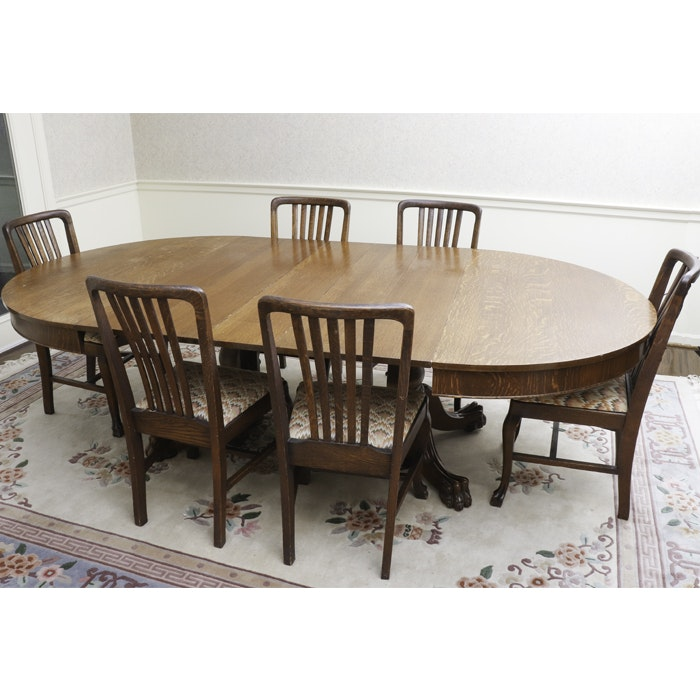 Tiger Oak Pedestal Dining Table and Chairs