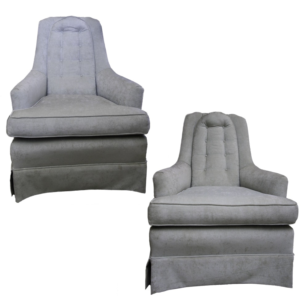 Pair of Pale Green Velour Upholstered Armchairs