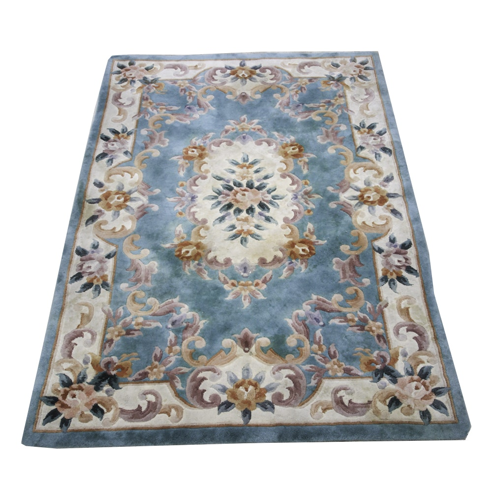 Machine Woven Turquoise Floral Area Rug