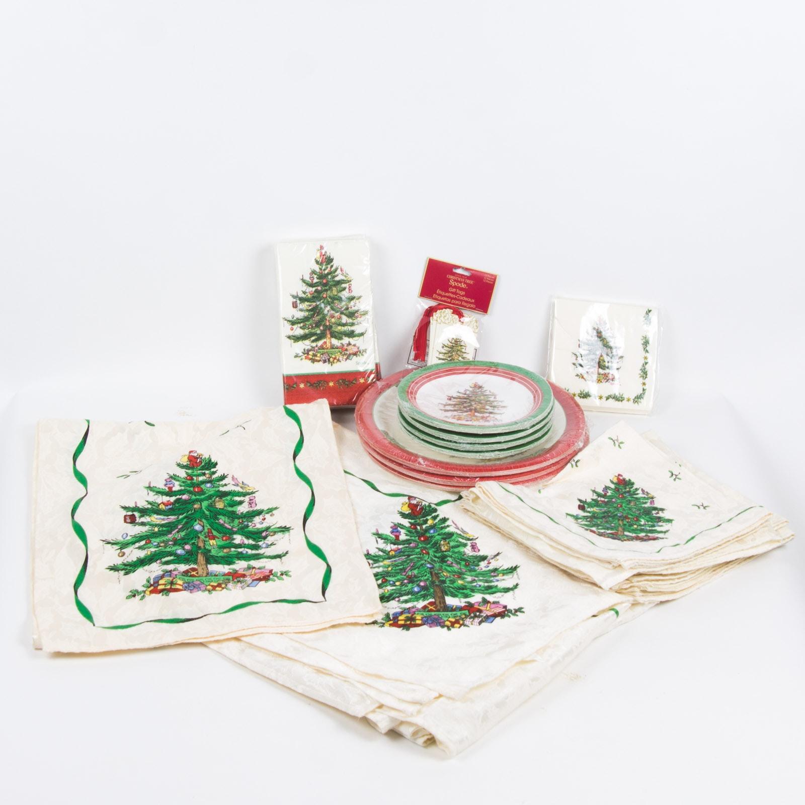 Spode Christmas Tree Table Cloths, Napkins, & Paper Plates