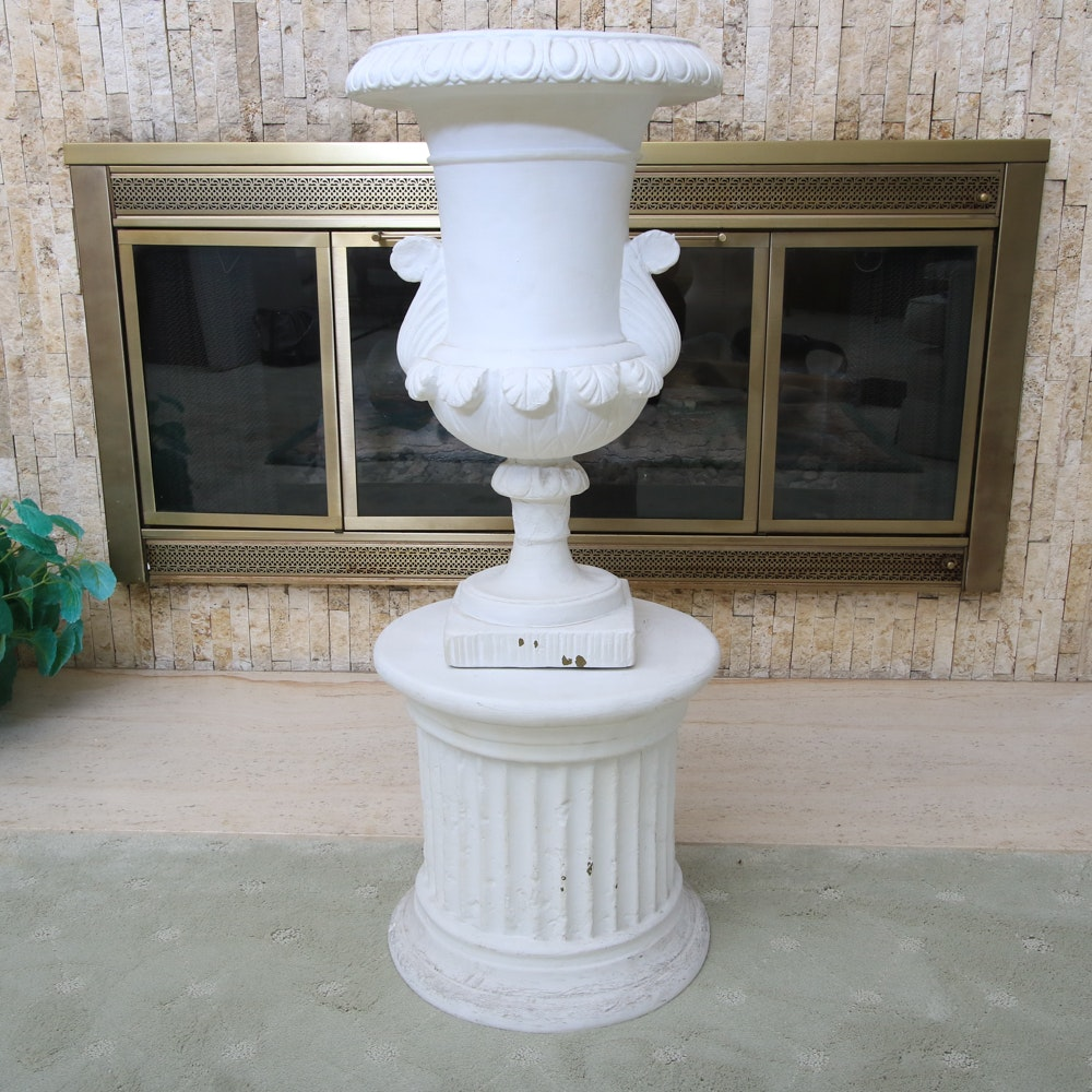 Ceramic Planter and Column Plant Stand