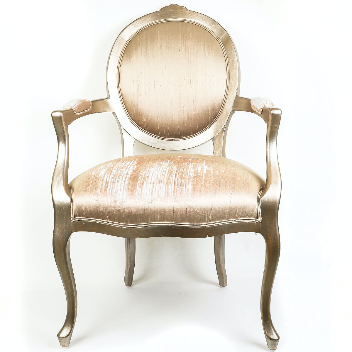 French Style Gold-Tone Armchair