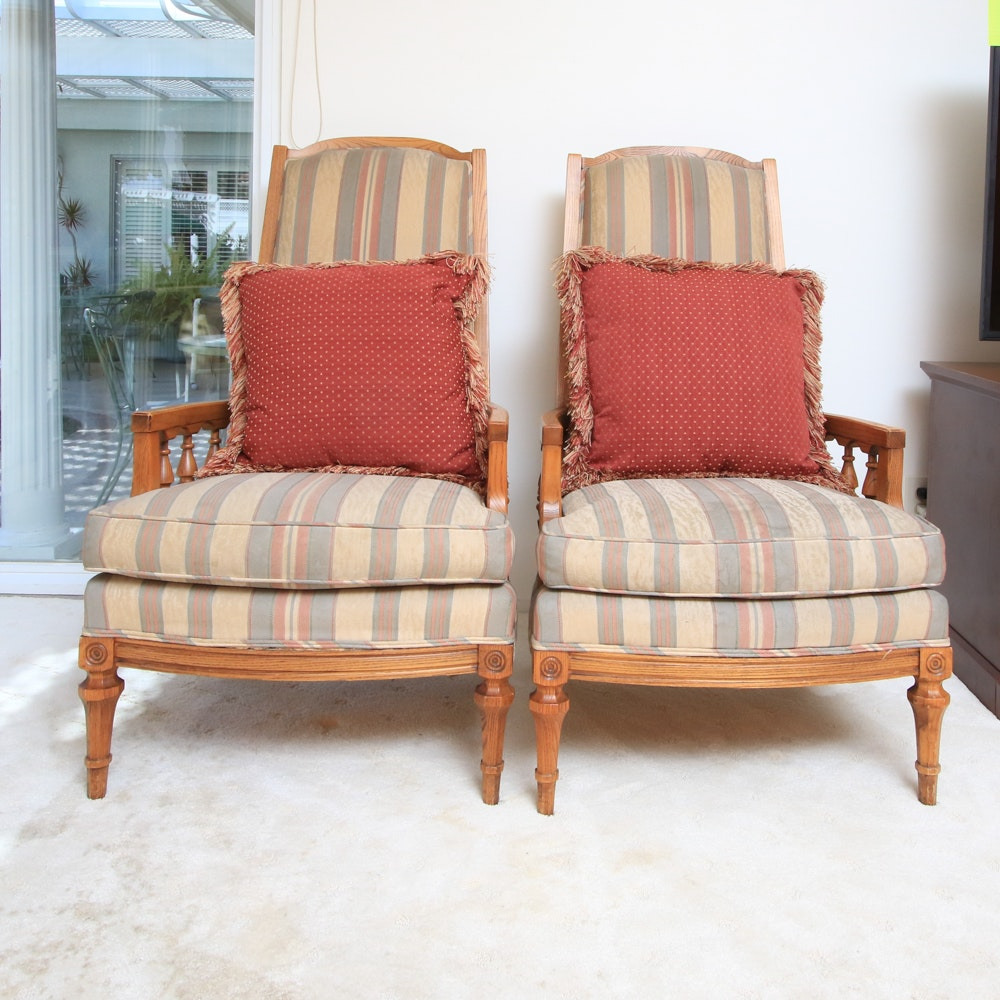 Pair of Vintage Armchairs with Striped Fabric