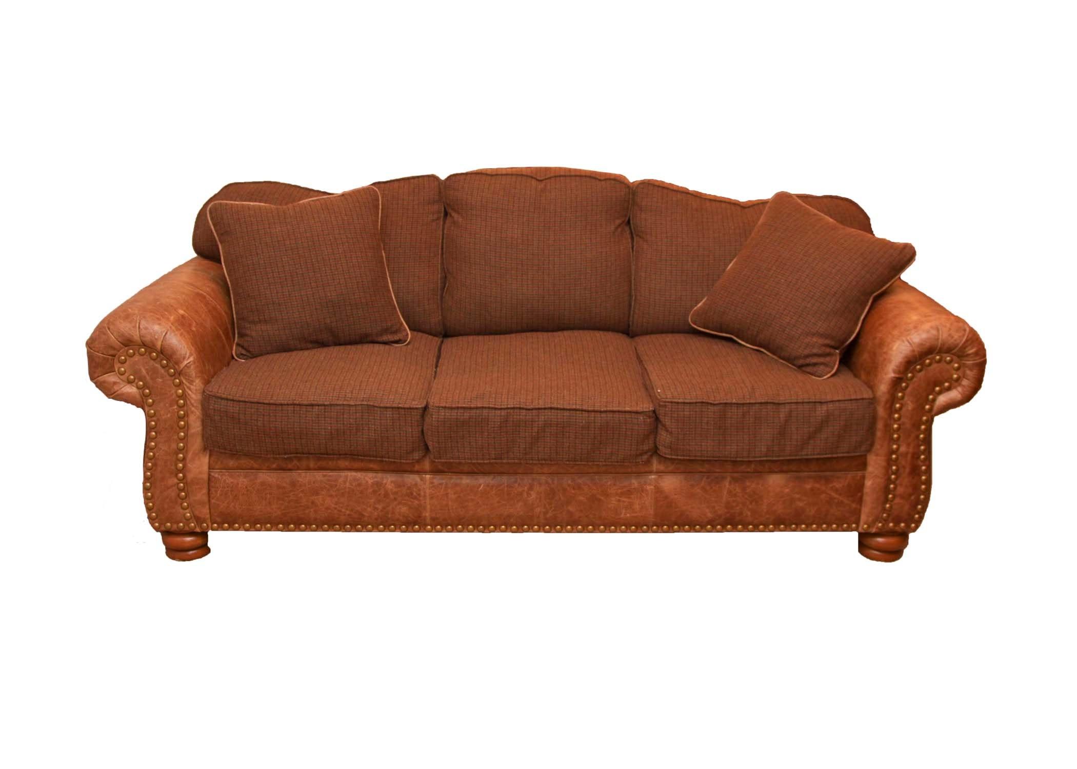 Marshfield Furniture Leather and Plaid Sofa