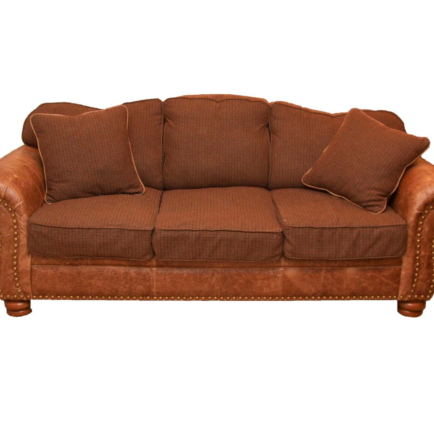 Marshfield Furniture Leather And Plaid Sofa Ebth