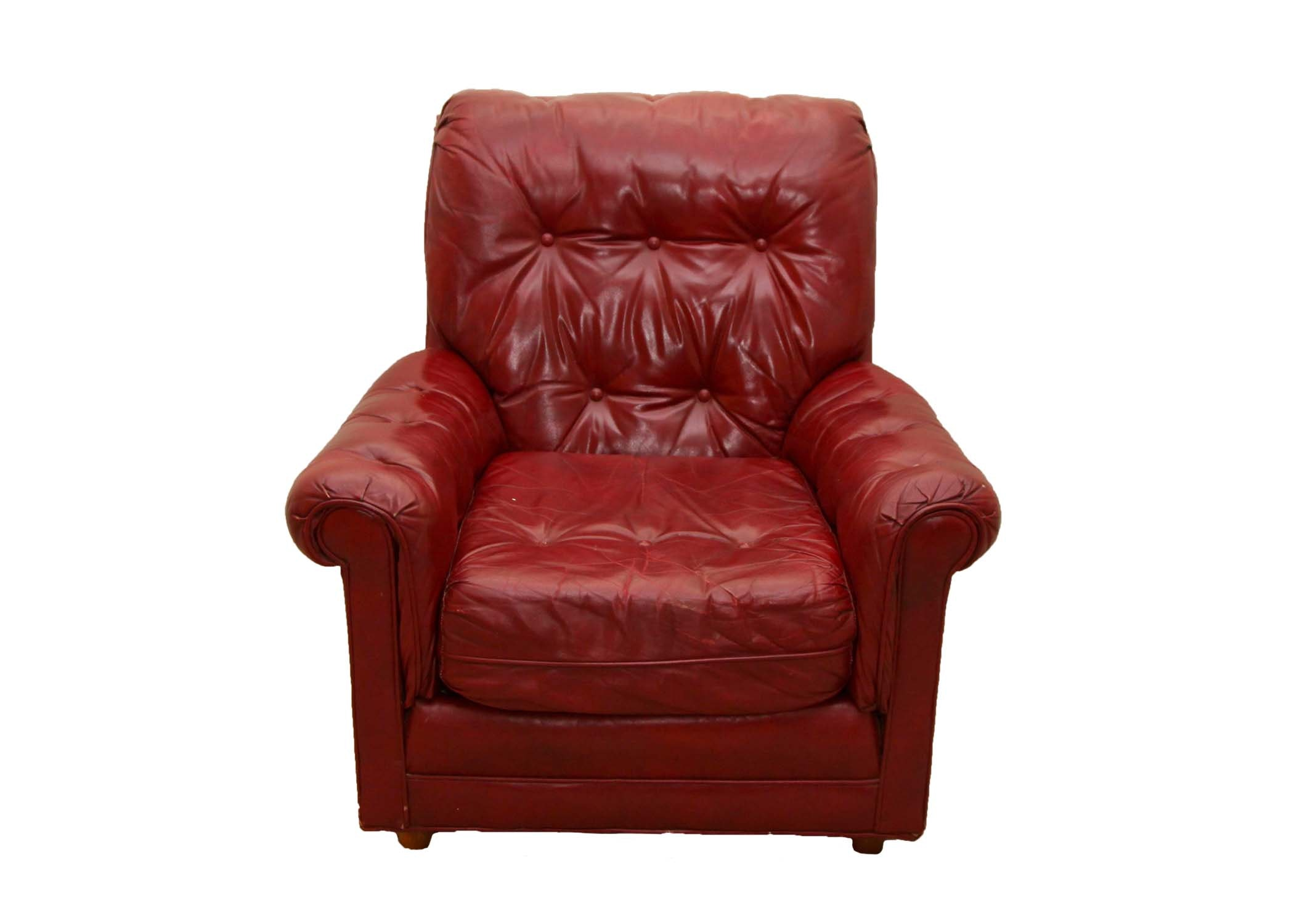 North Hickory Furniture Co. Red Leather Armchair