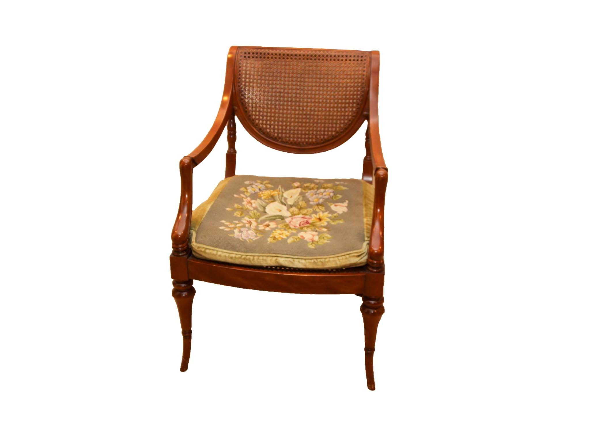 An Empire Style Chair with Rattan Back and Seat