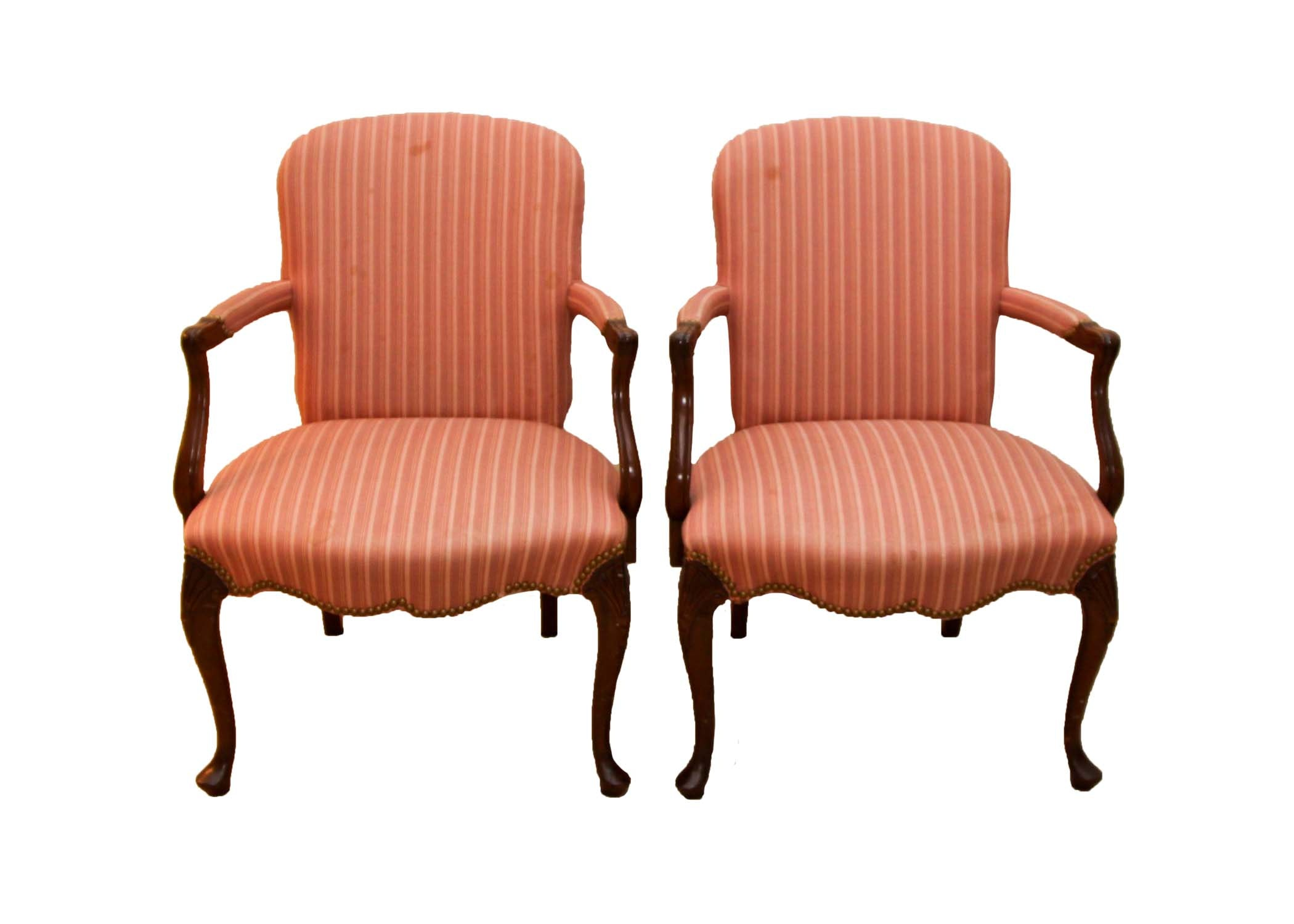 Pair of Hickory Chair Furniture Co. Pink Striped Chairs