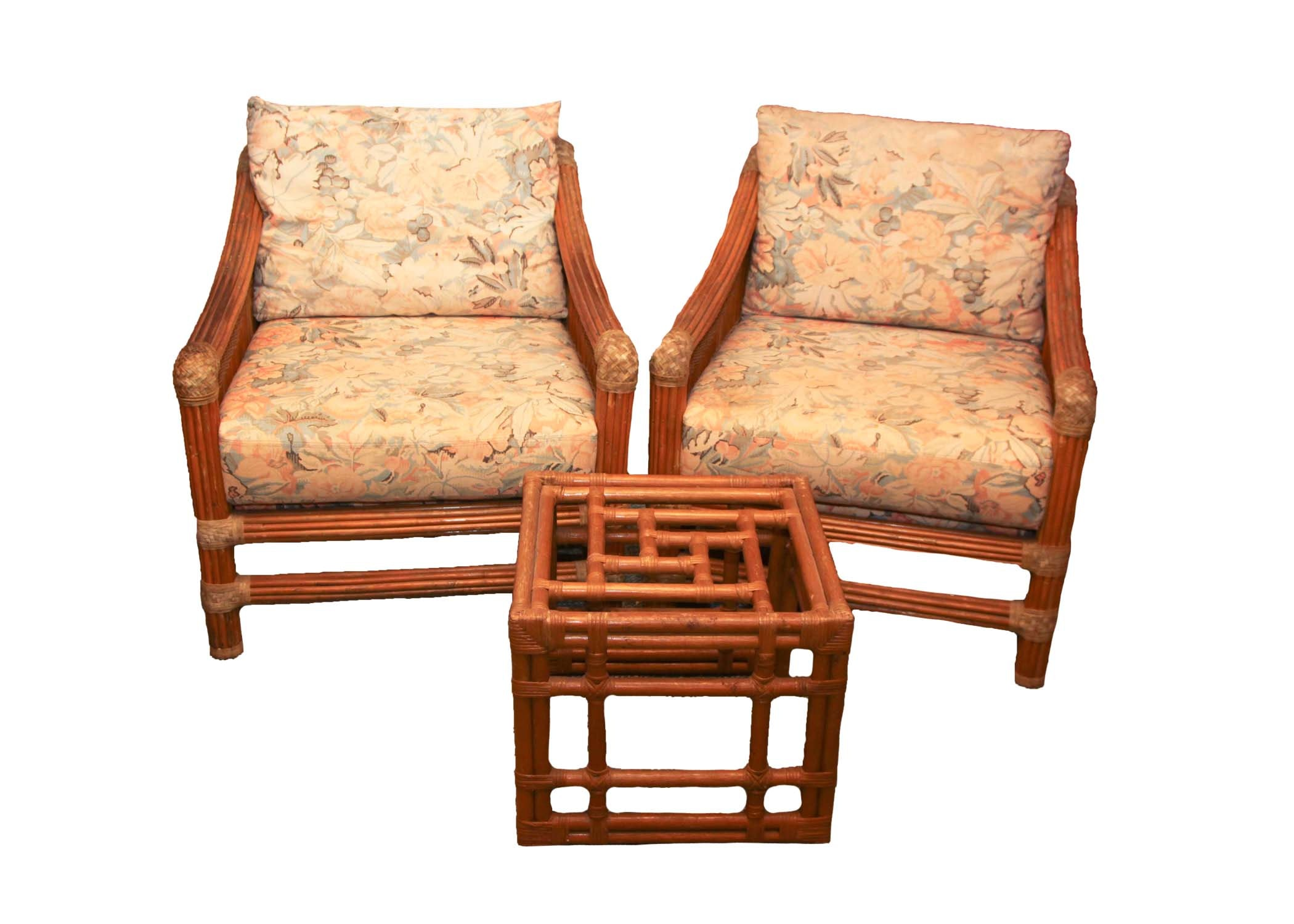Vintage Rattan Armchairs and Side Table