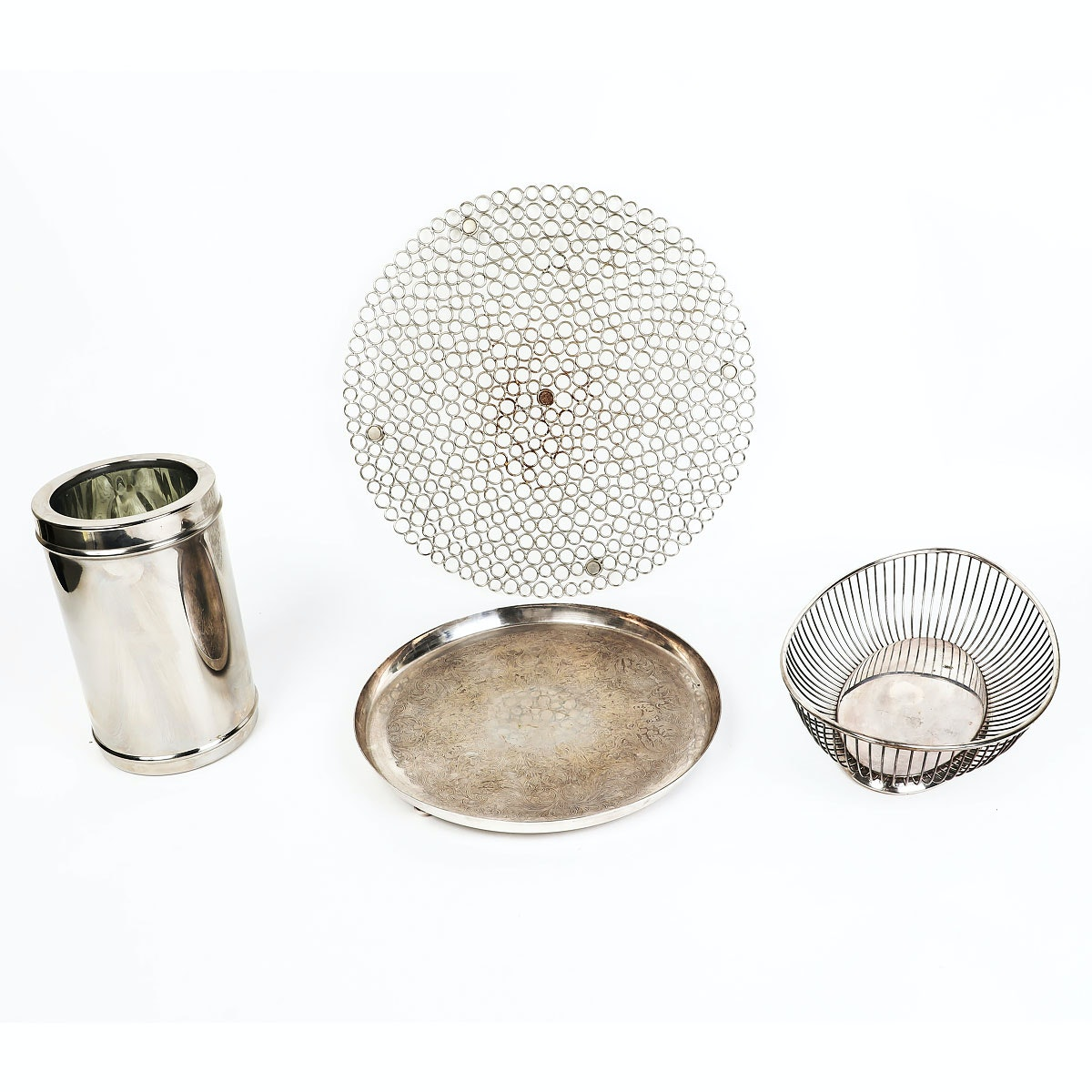 Assortment of Silver Tone and Silver Plate Tableware