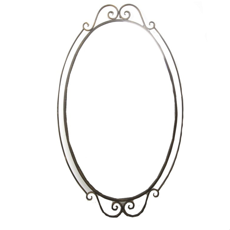 Large Oval Wall Mirror with Metal Frame