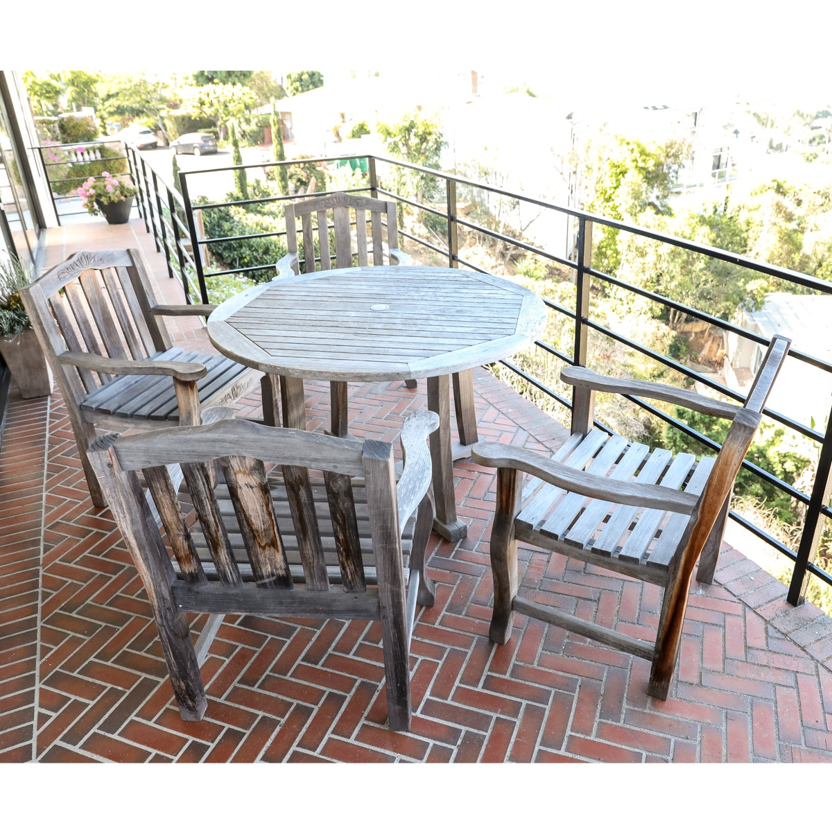Teak Patio Table with Four Chairs