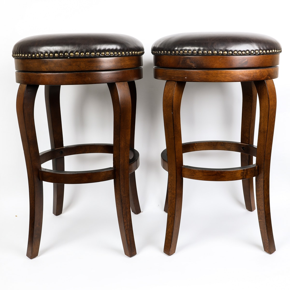 Two Wood and Leather Bar Stools