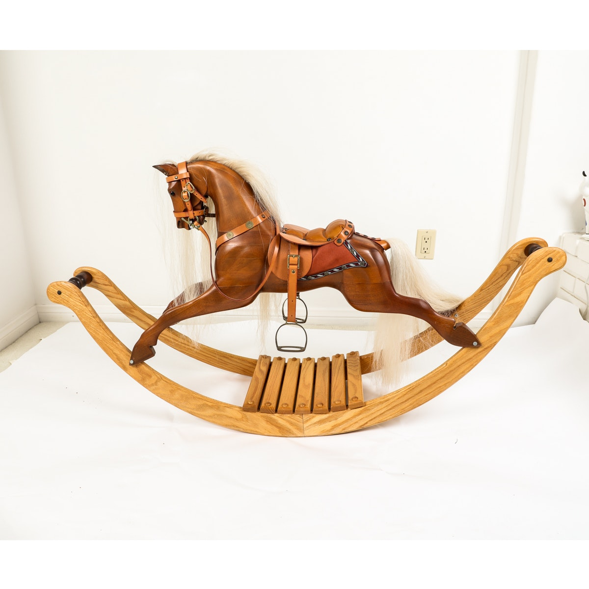 Hand-carved Wooden Rocking Horse