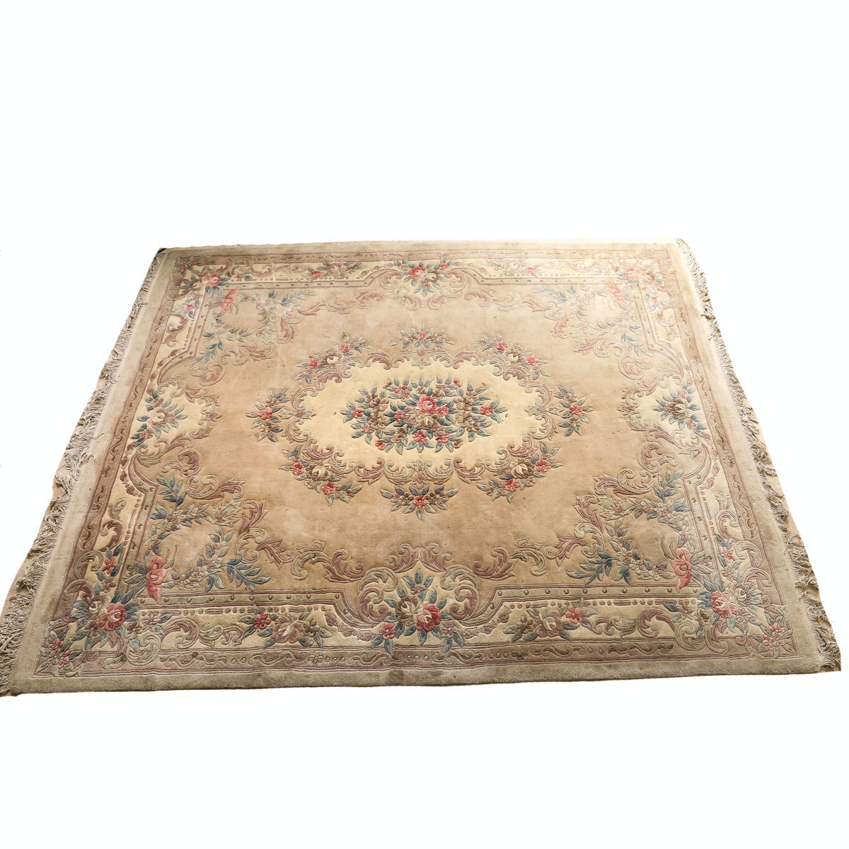 Persian Style Wool Area Rug Ebth: Vintage Carved Wool Chinese Savonnerie-Style Area Rug