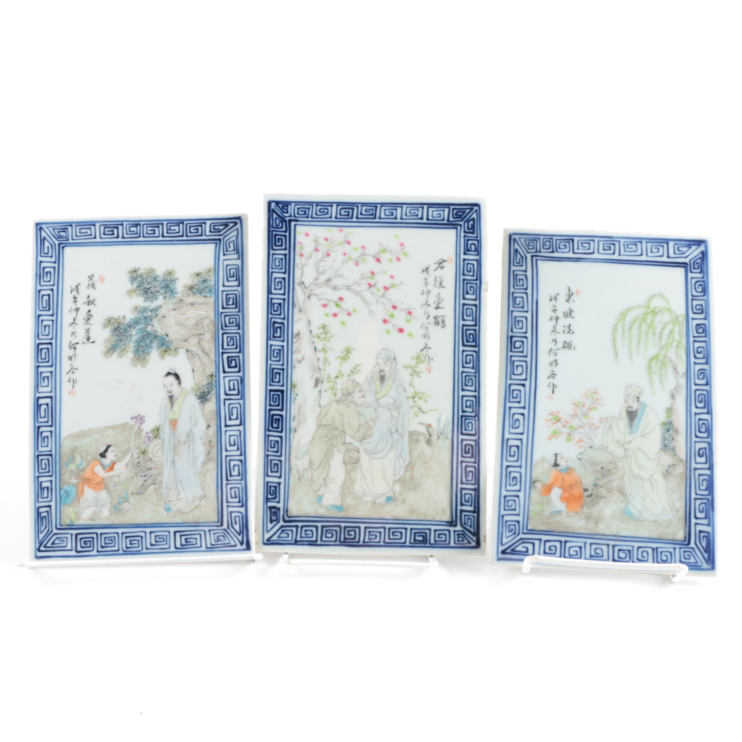 Vintage Chinese Painted Ceramic Tiles