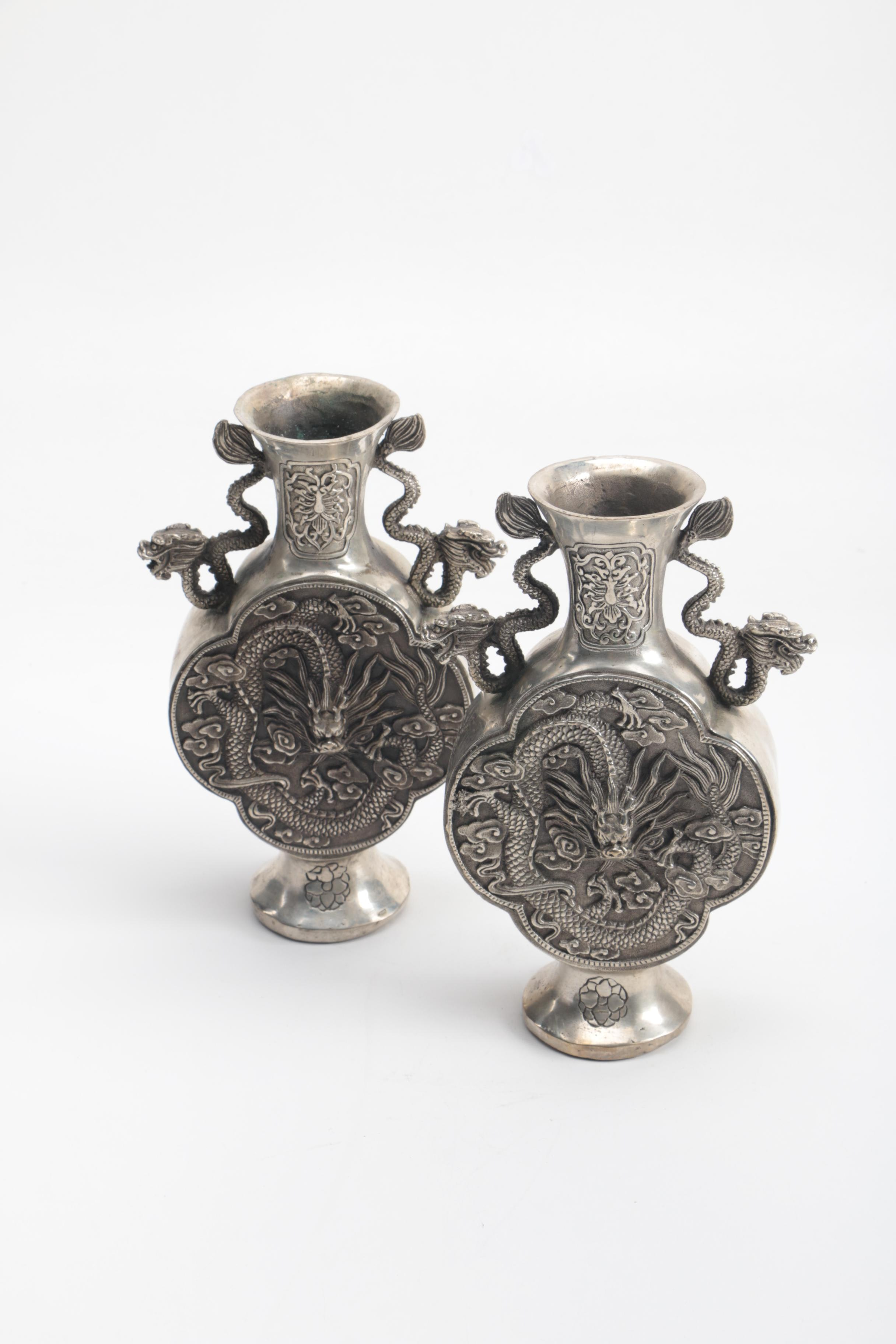 Pair of Silver Tone Chinese Vases