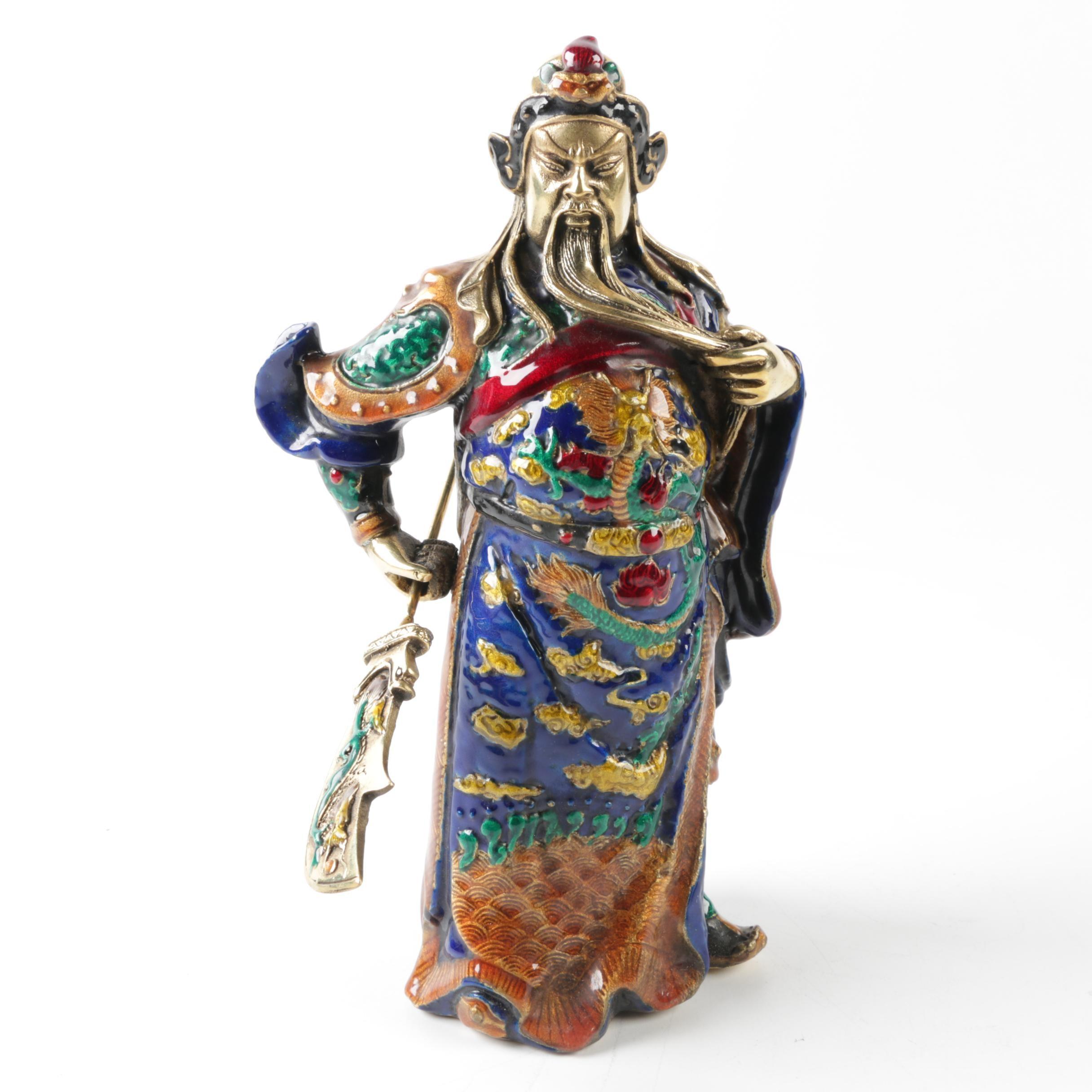 Guan Yu Bronze Warrior Figurine