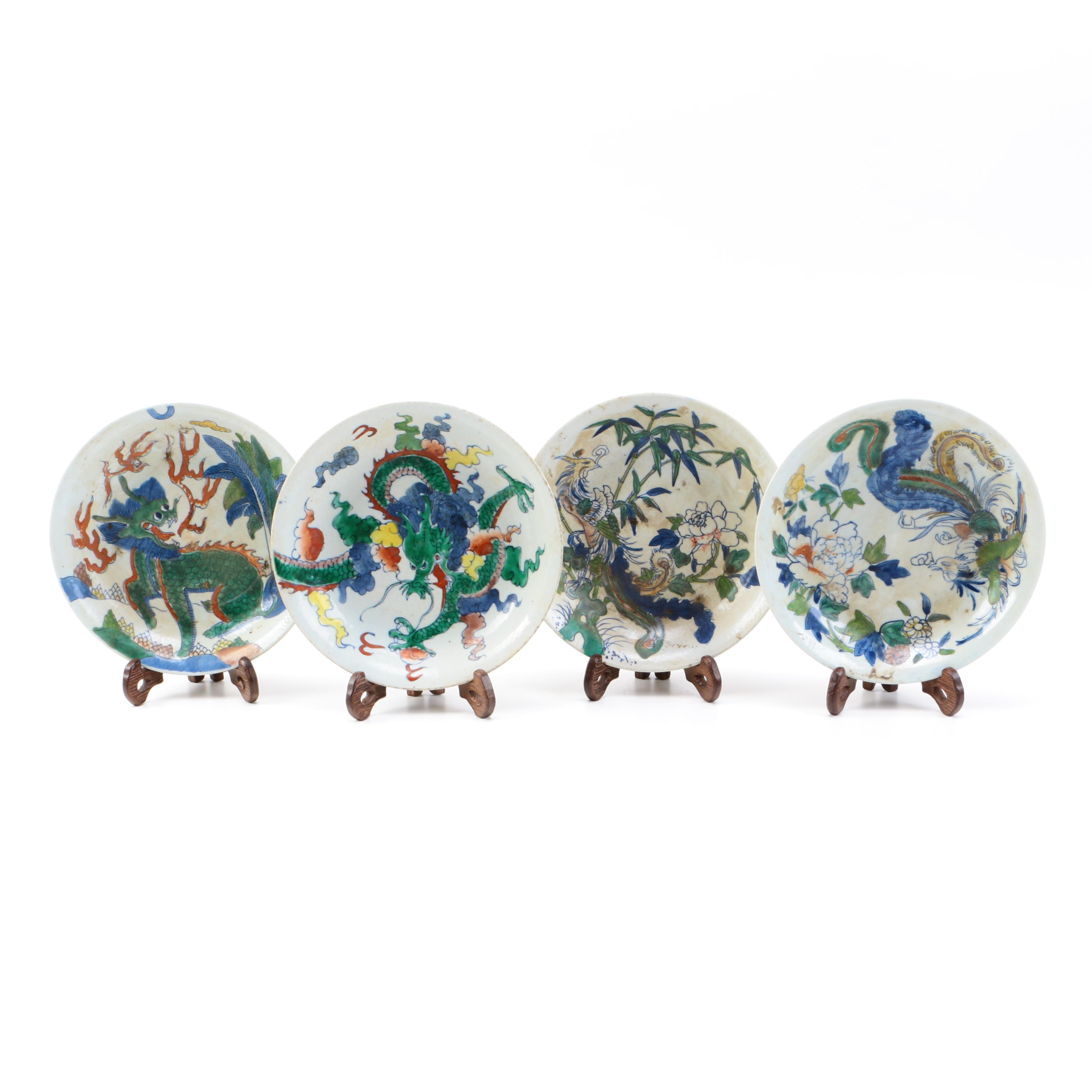 Four Chinese Wucai Style Hand Painted Porcelain Plates