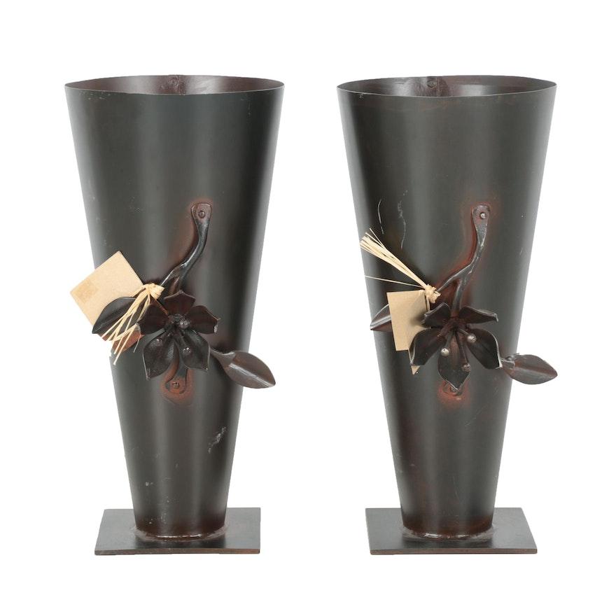 Jan Barboglio Wrought Iron Vases Ebth
