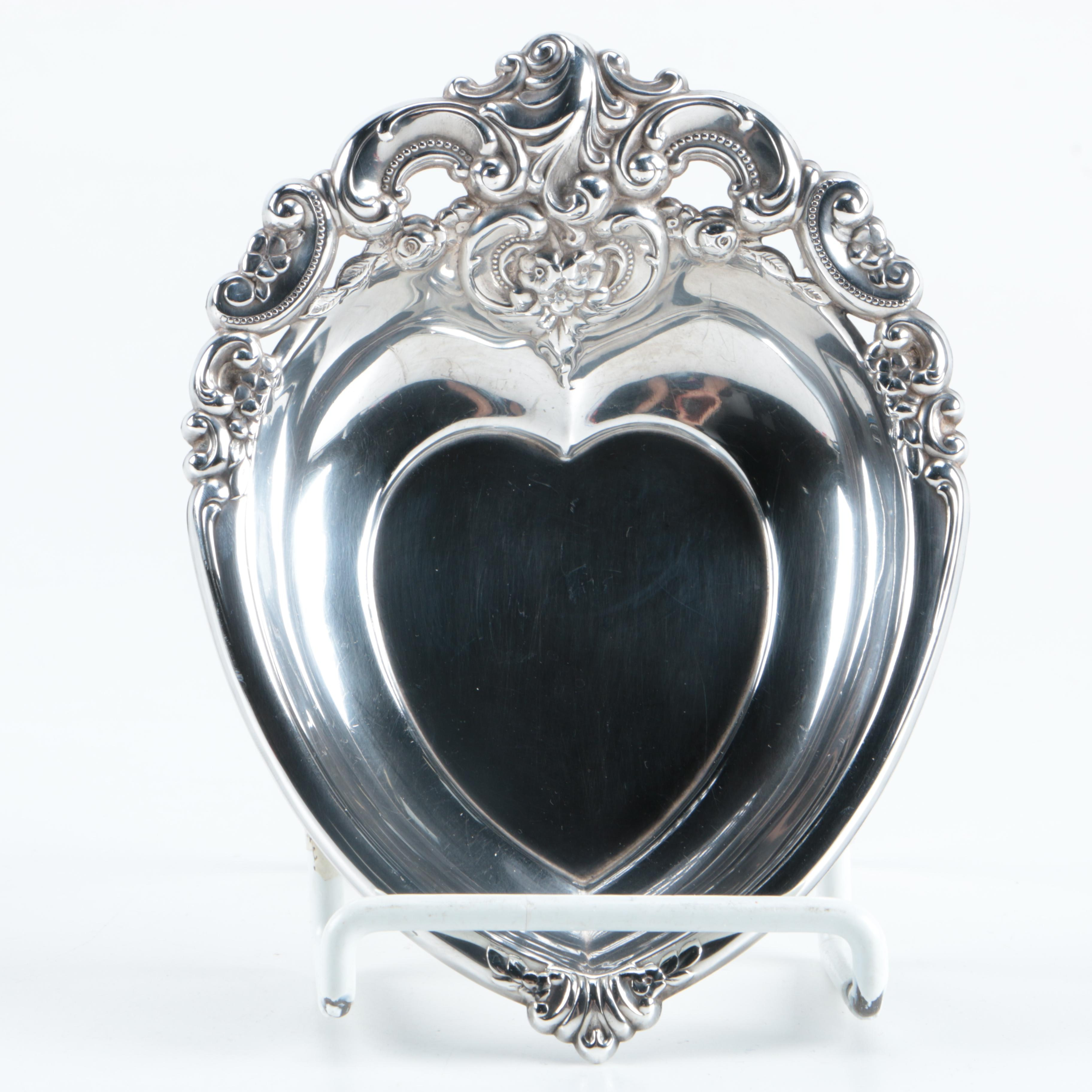 Wallace Sterling Silver Heart Shaped Dish