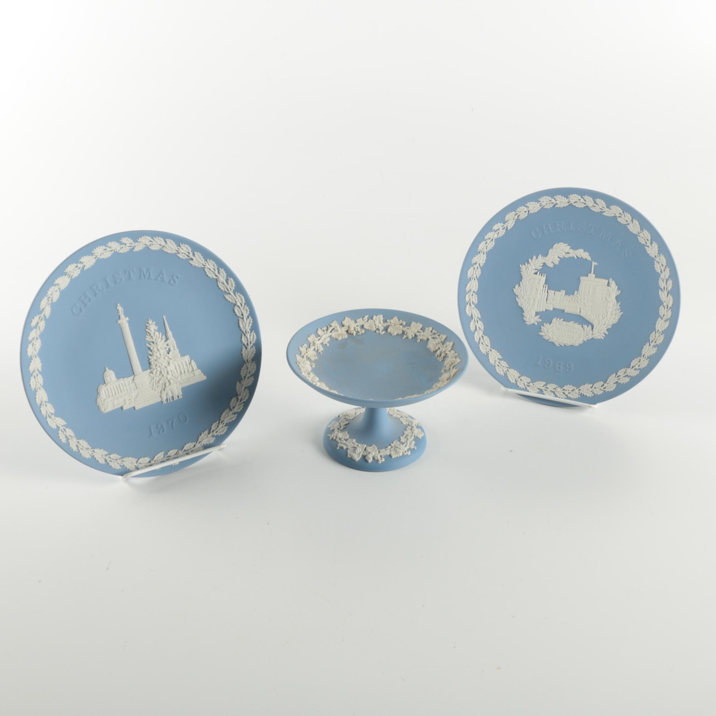 Vintage Wedgwood Bisque Plates and Compote