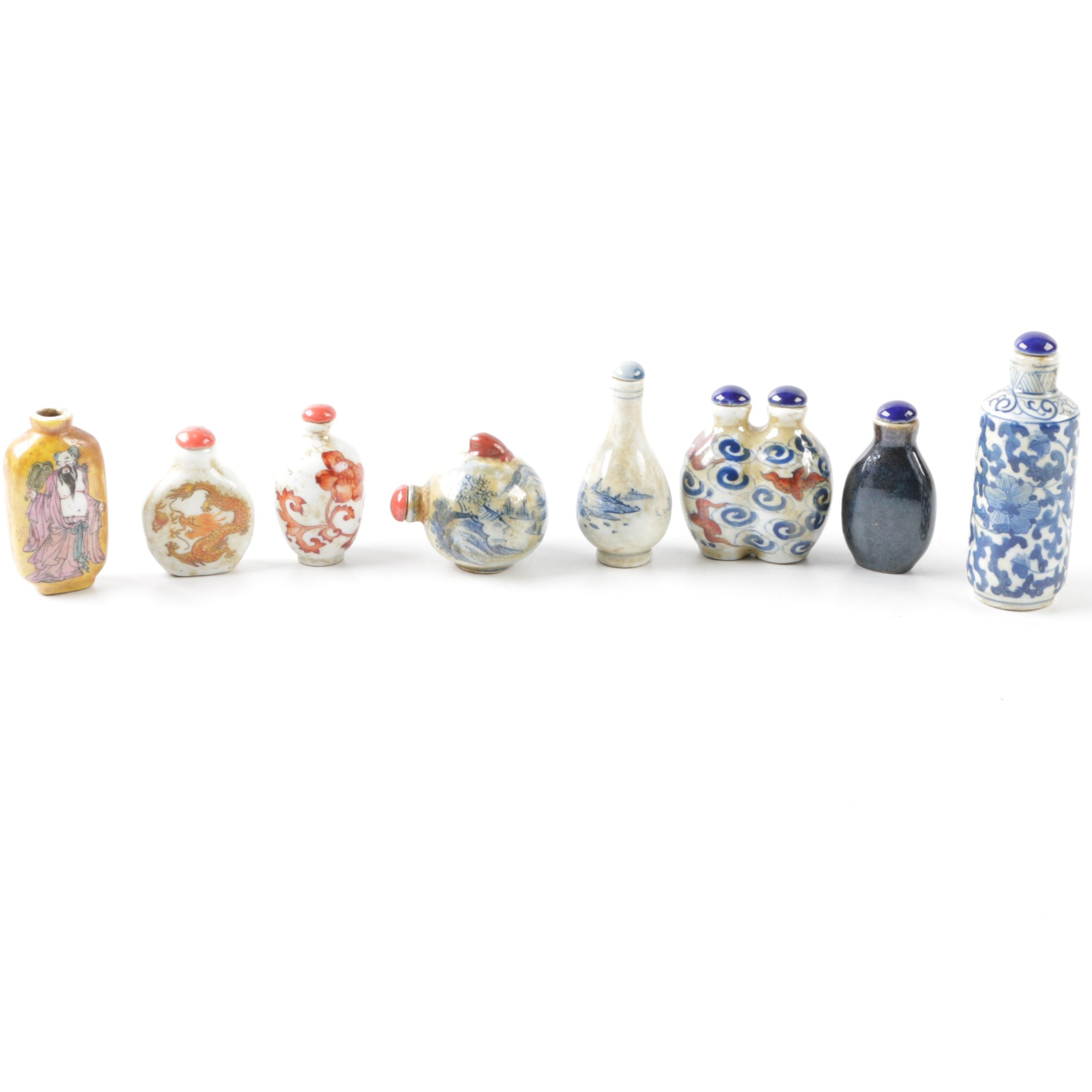 Eight Vintage Chinese Ceramic Snuff Bottles in Vase Shapes