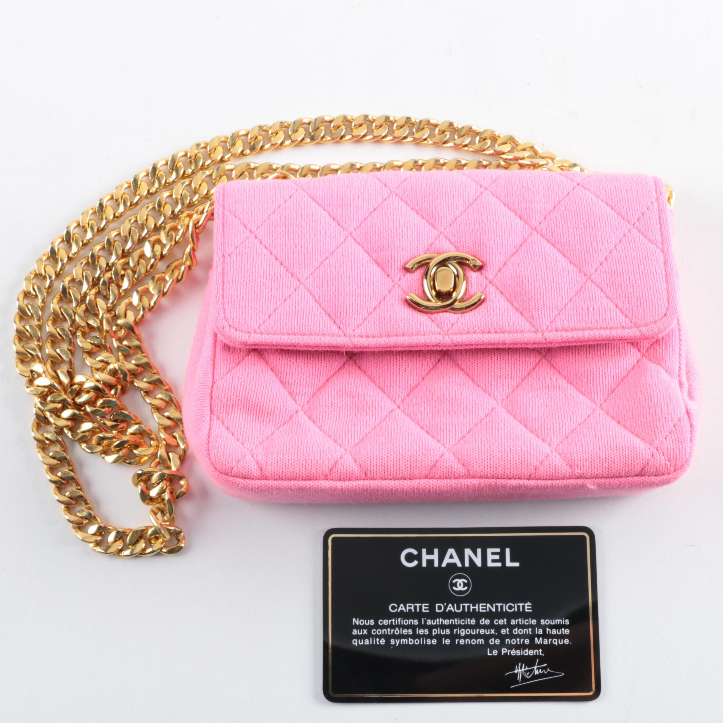 Chanel Pink Quilted Jersey Mini Flap Bag