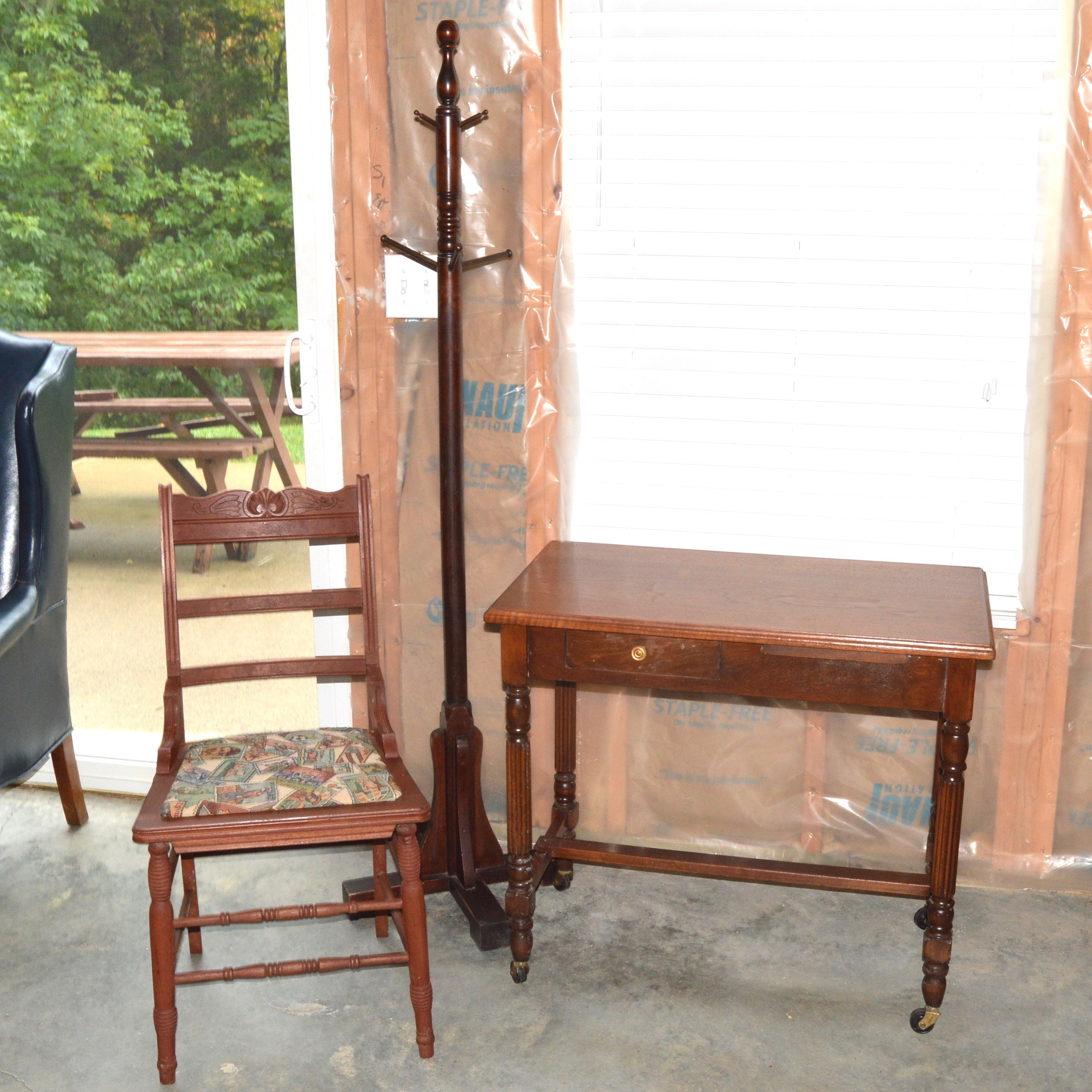 Vintage Wooden Coat Rack, Chair and Table