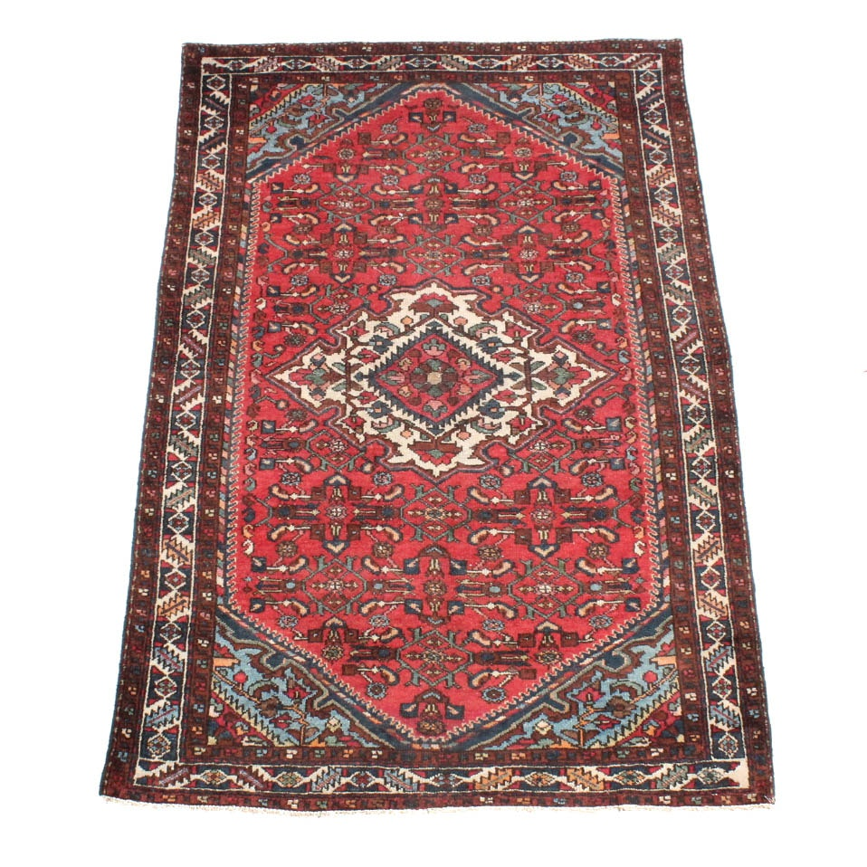 Hand-Knotted Semi-Antique Persian Malayer Sarouk Area Rug