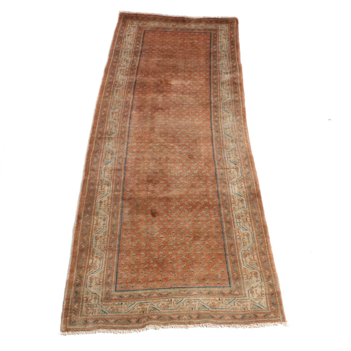 Hand-Knotted Semi-Antique Malayer Boteh Runner