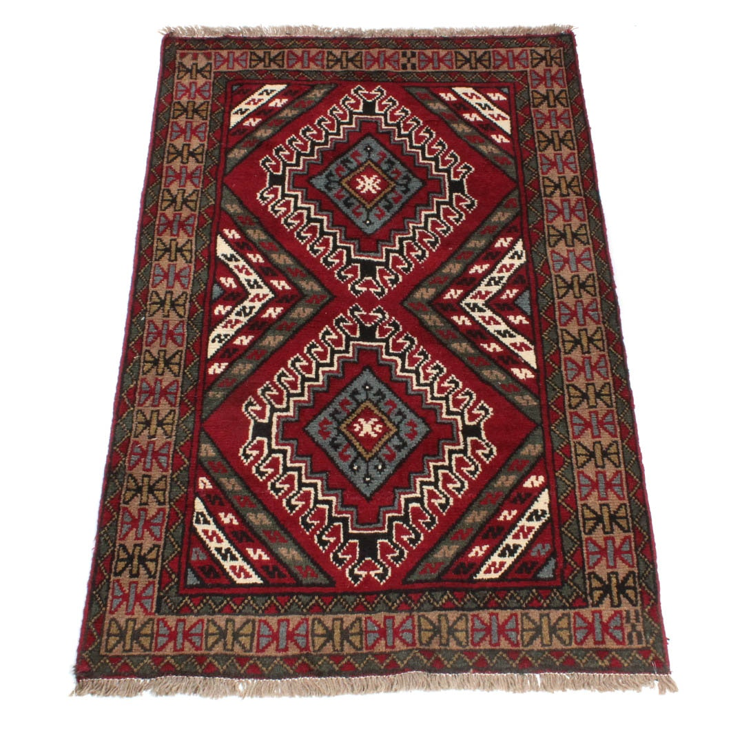 Hand-Knotted Vintage Persian Qashqai Yalameh Area Rug