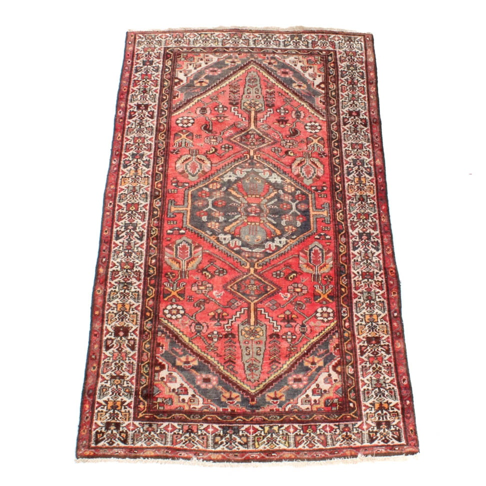 Hand Woven Semi-Antique Persian Heriz Area Rug
