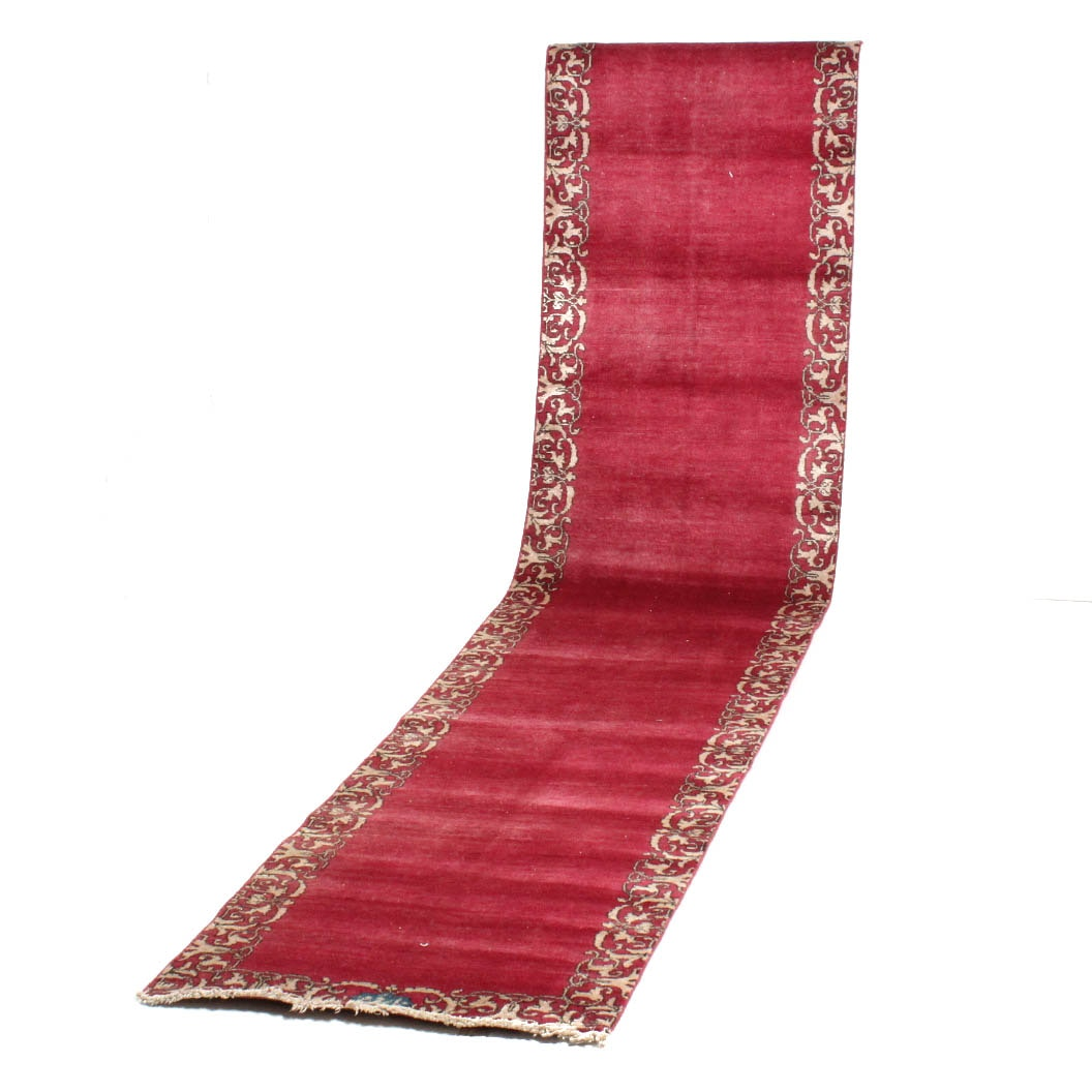 Hand-Knotted Semi-Antique Persian Qum Signed Long Runner